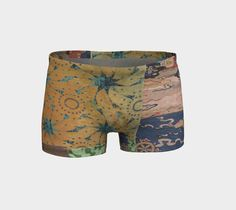 Workout shorts, yoga shorts, hot yoga, collage shorts, wearable art, opaque, art print, vibrant print, fitted, spandex, breathable fabric #etsy
