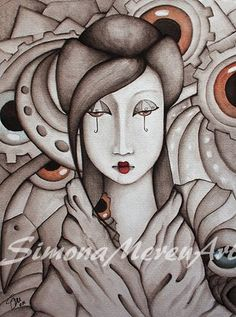 Who Am I in this circus of life? Still haven't found out...Ink and watercolor on paper. Simona Mereu