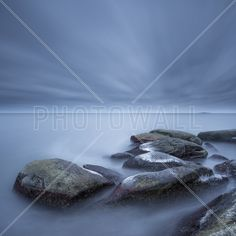Foggy Stones in Blue Sea – populært fototapet Photo Wallpaper, Whale, Sea, Stones, Blue, Animals, Rocks, Animaux, Whales