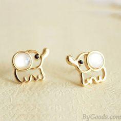 White Opal Lovely Elephant Earrings