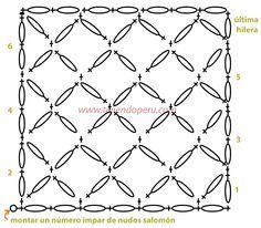 Schema per il punto Salomon Knot o punto strega in forma rettangolare