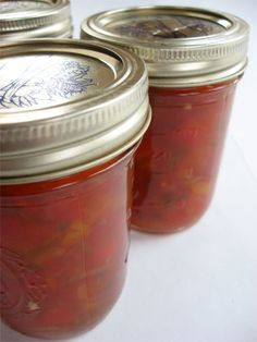 Homemade Pepper and Onion Relish (ala Harry & David).  I love this.  I often buy the real stuff when it is on sale but 3 for $9 is still a bit steep.   Mix it with cream cheese and enjoy with tortilla chips. It is always a big hit at parties.