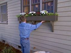 window box DIY...might look for chunky antique brackets instead of making them. Regardless, they will definitely be painted red!!!