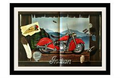 """DAVID MANN Indian Motorcycle Art Print, """"Window To The Past"""""""