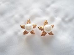 Copper & Pearl Handmade Starfish Stud Earring by OneOfferJewelry