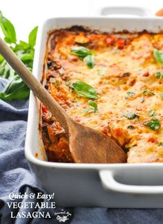 Easy Vegetable Lasagna! Easy Dinner Recipes | Healthy Dinner Recipes | Dinner Ideas | Vegetarian Recipes | Vegetarian Dinner | One Dish | Casserole Recipes | Clean Eating | Real Food | Healthy Recipes | Kid Friendly Recipes | Pasta