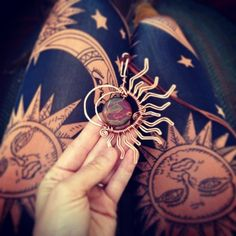 This listing is for one handmade sun, moon and earth necklace. These copper and stone wrapped pendants make a beautiful statement piece for yourself