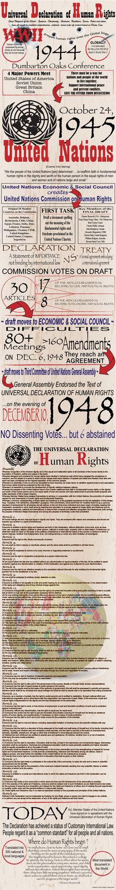 Universal Declaration of Human Rights Infograph. Must be one of biggest achievements of all if it can be achieved