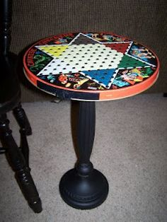 lamp base, wooden plaque and garage sale game - cool table