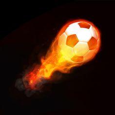 Fotobehang: Brandende Voetbal