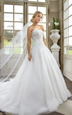 Tulle Ballgown with Semi-Sweetheart Neckline and Crystal Beaded Embellishment