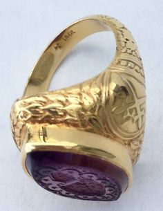 Victorian Amethyst Gold Bishop's Ring | From a unique collection of vintage more rings at https://www.1stdibs.com/jewelry/rings/more-rings/