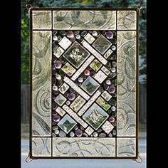 Edel Byrne Clear Border Geometric Stained Glass Panel, Artistic Artisan Designer Stain Glass Window Panels - #StainedGlassMirror