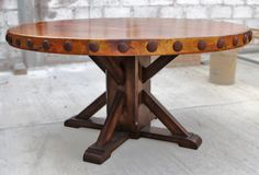 """ROUND COPPER TOP DINING TABLE: 60"""" round with concha (rivet) adornment mounted on rustic, wood, pedestal table base . Rustic Round Dining Table, Pallet Dining Table, Round Tables, Dining Tables, Dining Room, Spool Tables, Kitchen Dining, Wood Pedestal Table Base, Wood Table Bases"""