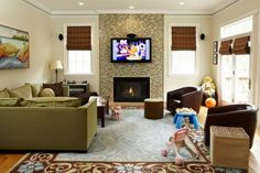 Room design with tv over fireplace