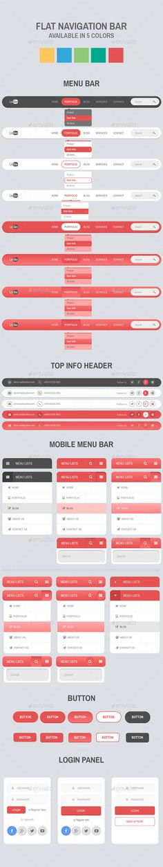 Flat Navigation Bar by Apex_theme Description: Re-sizable 5 colors included Easy to edit text and color 8 menu bar, 5 top info header, 6 mobile menu bar, 3 Web Design Color, Web Design Tips, App Ui Design, Menu Design, Web Design Inspiration, Layout Design, Graphic Design, Website Layout, Web Layout