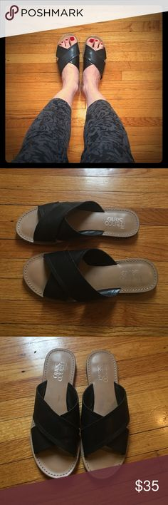 Franck Sarto sandal flats. Size 7. Unworn. Black leather sandal flats. So comfortable they almost feel like slippers! Franco Sarto Shoes Sandals