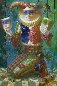 "Victor Nizovtsev oil painting ""Harlequin with Lock and Key"" Victor Nizovtsev, Pierrot, Send In The Clowns, Arte Disney, Russian Art, Surreal Art, Folklore, Painting Inspiration, Tarot"