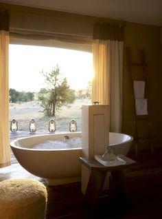 Bathroom with a view at Sayari camp - Serengeti