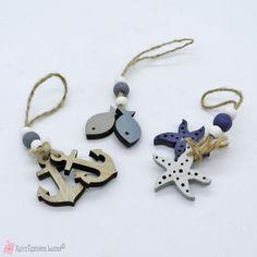 Ξύλινο θαλασσινό διακοσμητικό, με άγκυρες, ψαράκια ή αστερίες Diy Jewelry, Decor, Decoration, Decorating, Deco, Diy Jewelry Making
