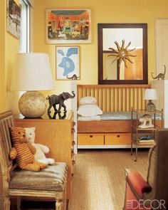 In designer David Netto's Manhattan home, a French chest holds court in his daughter's room, alongside a crib-turned-bed from his NettoCollection. A Jean Arp print and a Konstantin Kakanias watercolor pop off the butter-yellow walls. Boy Girl Room, Baby Boy Rooms, Elle Decor, Cool Kids Bedrooms, Kids Rooms, Childrens Bedroom, Sophisticated Nursery, Baby Room Design, Daughters Room