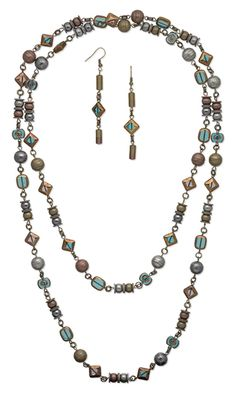 Single-Strand Necklace and Earring Set with Copper-Plated Glass Beads and Plated Brass Clasps - FMG - Tutorial