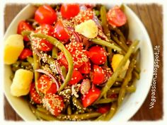 Patate fagiolini pomodorini e sesamo
