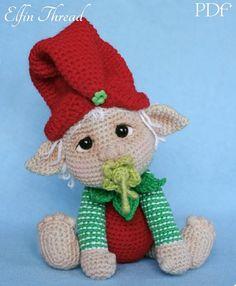 Elfin Thread- Gribin, The Baby Elf Amigurumi PDF Pattern (Elf Pixie Corchet pattern) Amigurumi Doll, Amigurumi Patterns, Crochet Patterns, Elf Images, Crochet Tree, Holiday Crochet, Christmas Elf, Stuffed Toys Patterns, Crochet Dolls