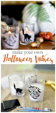 DIY Halloween Votives | Create your own DIY Halloween Decor with this simple craft. Using a Cricut Explore or an Xacto knife for your design. Click the photo for a full tutorial. http://TodaysCreativeLife.com