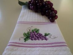 Purple Grapes Cross Stitch Kitchen Towel/Hostess Gift by CrossStitchbyChris on Etsy
