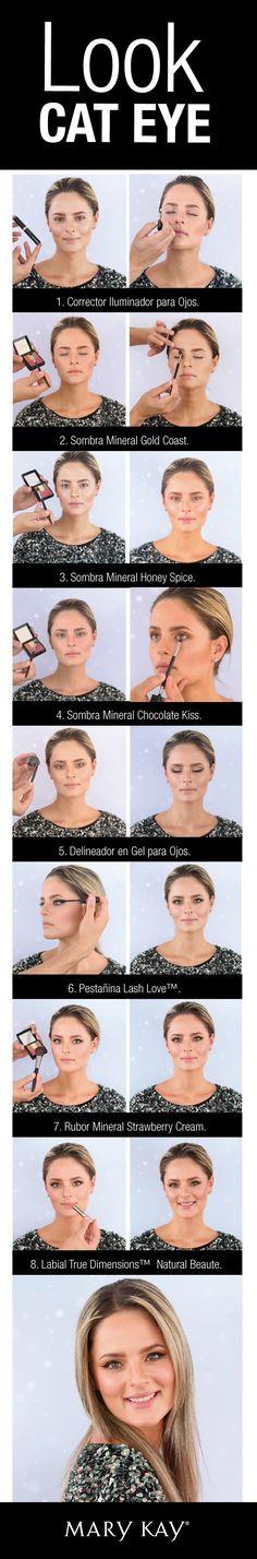 Look Cat Eye. Sigue este paso a paso y tus ojos se verán impactantes esta navidad.  Visita nuestra web: www.marykay.com.co y descubre más tips de maquillaje.   #LookNavidad #MakeUp #MaryKay #CatEye