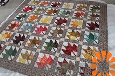 Printable Maple Leaf Quilt Pattern | Reneva pieced this beautiful maple leaf quilt for one of her ...