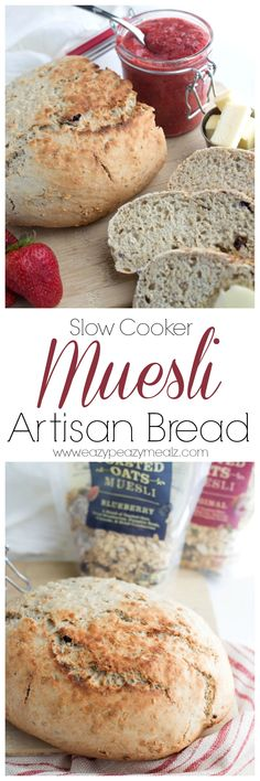 Muesli Artisan Bread that can be mixed together in about 5 minutes, and then cooks in the slow cooker for only an hour and a half, for a quick, delicious, and super easy bread! Healthy and Easy never tasted so good! #ad #mueslirecipes - Eazy Peazy Mealz