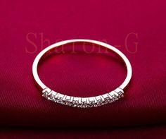 Solid14K Rose Gold Wedding Band  0.11ct diamonds ,Wedding Ring,Engagement Ring