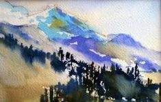 Image result for mountains in watercolor
