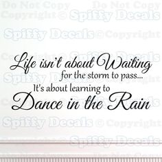 "Life Isn""T About Waiting Dance in The Rain Quote Vinyl Wall Decal Decor Sticker 