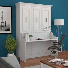 Bed & Room Porter Full Portrait Wall Bed with Desk in White - Murphy bed and a desk! Murphy Bed Desk, Murphy Bed Plans, Desk Bed, Office With Murphy Bed, Sofa Bed, Modern Murphy Beds, Portrait Wall, Bed Slats, Up House