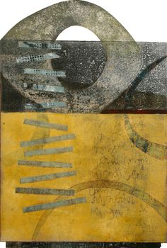 "Field of Vision, by Anne Moore, monotype with collage,20""X 13"""