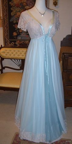 Vintage 50 year old cotton nightgown white black shabby chic trunk of Grandma nostalgic bride