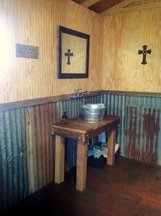 With out the crosses and would be way cute Oak Farm Groom's Room rustic bathroom Decor, Rustic Bathroom Sinks, Rustic Restaurant, Rustic Living Room, Rustic Sink, Rustic Bathrooms, Rustic Interiors, Tin Walls, Rustic House