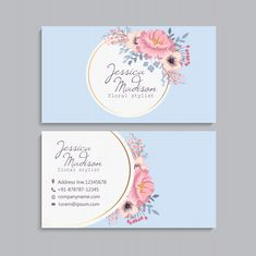 Business card with beautiful flowers. Cute Business Cards, Examples Of Business Cards, Business Card Design, Gift Voucher Design, Theme Mickey, Black Rose Flower, Visiting Card Design, Name Card Design, Makeup Artist Business Cards