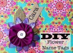 DIY Summer Name tags! http://spoonfulofimagination.com/diy-flower-name-tag/ #flower #DIY