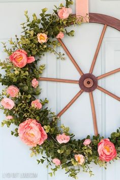 Wagon Wheel Farmhouse Style Wreath Tutorial - Wagon - Ideas of Wagon - Spring Farmhouse Style Wagon Wheel Wreath Deco Floral, Arte Floral, Wreath Tutorial, Front Door Decor, Front Doors, Farmhouse Chic, Summer Wreath, Spring Wreaths, Winter Wreaths