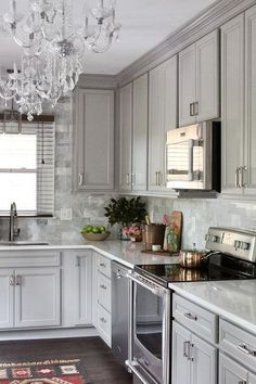 Grey Kitchen Cabinets (36) Good use of corner space