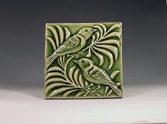 Handcarved relief Bird Tilemade to order by chayatileworks on Etsy, $45.00