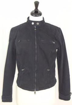 Ralph Lauren Jeans Co. Black Jean Jacket Stretch Denim Motorcycle Womens L #RalphLauren #JeanJacket