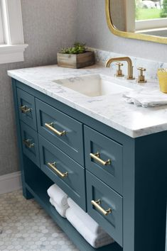 Furniture Vanity, Blue Furniture, Furniture Styles, Early American Furniture, Cabinet Molding, Staining Cabinets, Paint Matching, Vanity Design, New Home Construction