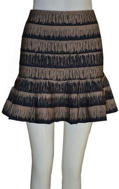 Elegant Herve Leger Apricot Printed A-line Bandage Skirt