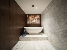 This newly re-designed Melbourne Penthouse overlooking the Treasury Gardens has been transformed into a spacious open plan luxury home. Our Calacatta Gold Marble tiles are featured throughout the entrance and main living spaces, as well as the master ensuite and powder room both lined with a combination of tiles and mosaics. Branco Vena marble tiles have also been incorporated adding an effortless light and flowy feel to entire main bathroom walls and floors Calacatta Gold Marble, Marble Tiles, Tile Patterns, Bathroom Wall, Open Plan, Bathroom Inspiration, Powder Room, Mosaics, Luxury Homes