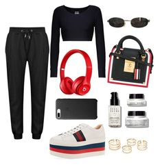 """""""dressy sweats"""" by sofi-ferreyra ❤ liked on Polyvore featuring Norma Kamali, Gucci, Thom Browne, Tom Ford, Beats by Dr. Dre and Bobbi Brown Cosmetics"""